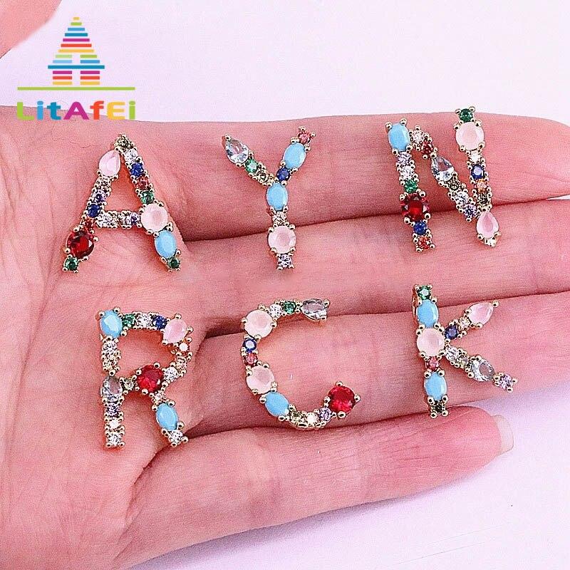 Gewissenhaft Initial Brief Halskette Schmuck Brief Anhänger Halsketten Einzigartiges Design Bunte Stein Gold Kette Für Mädchen Dekoration Geschenk