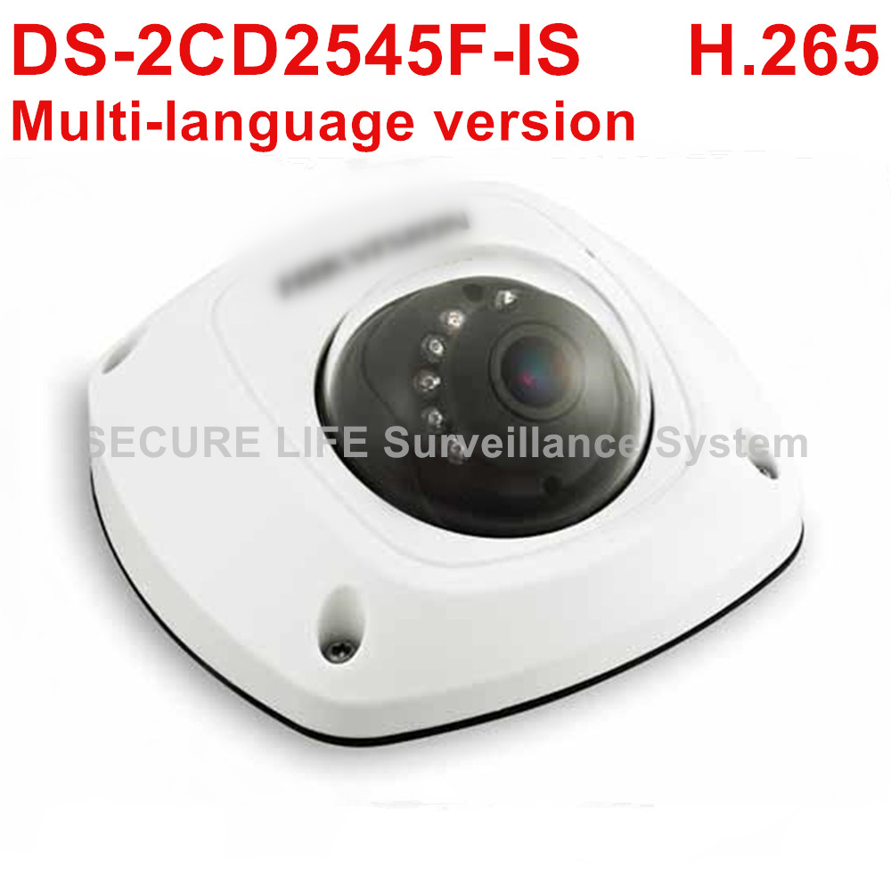 Multi-language version DS-2CD2545F-IS 4MP WDR Mini Dome Network cctv Camera Support H.265 10m IR IP67 PoE Audio multi language ds 2cd2735f is new high quality varifocal lense 3mp ir dome security network ip cameras w audio alarm support poe