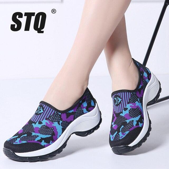 STQ 2020 Mùa Đông Nữ Phẳng Nền Tảng Giày Nữ Lưới Thoáng Khí Đế Mềm Giày Nữ Slip On Sneakers 1853