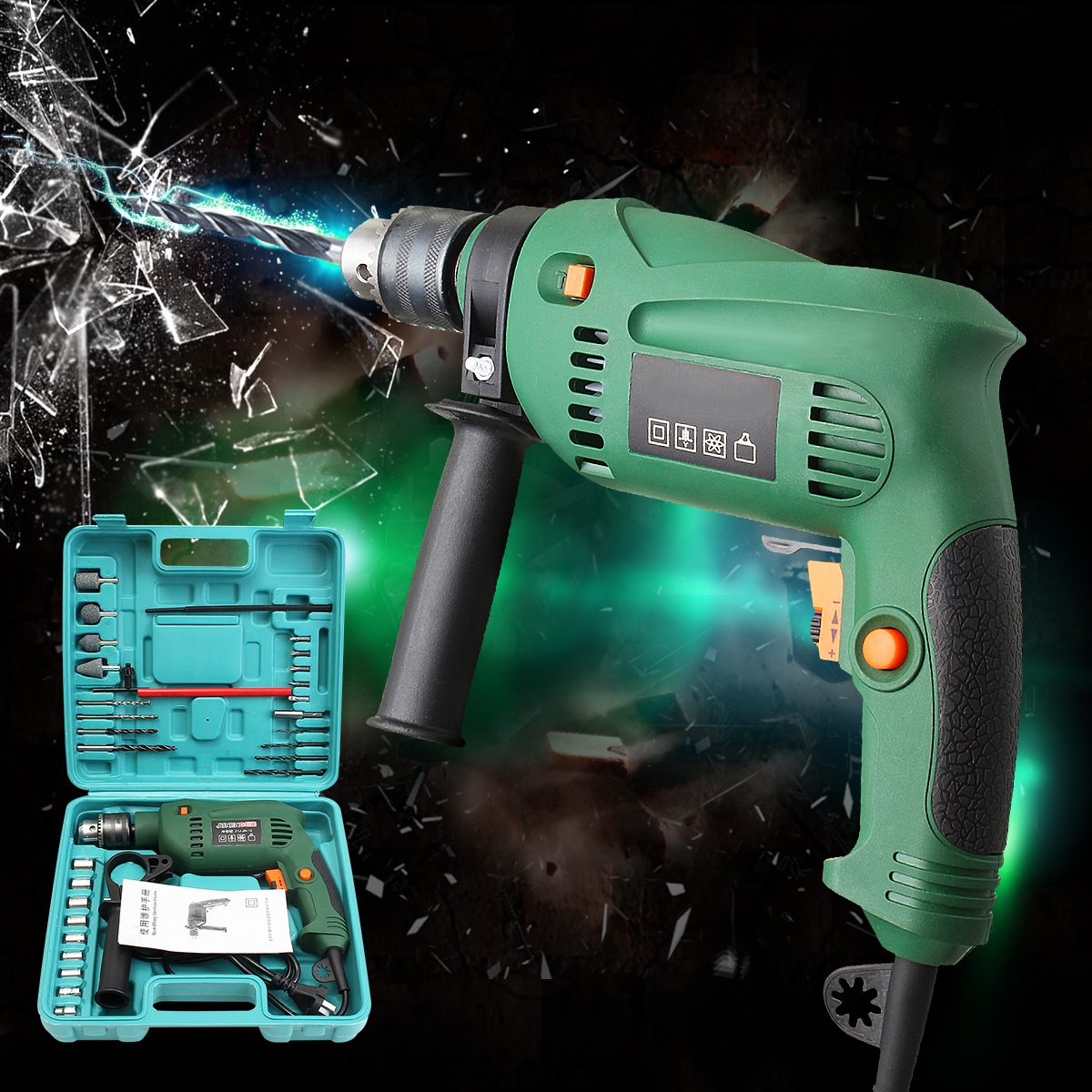 220V 1580w Power Corded Drill Kit Electric Metal Chuck V/Speed Forward Reverse With Mini Drill Grinding Wheel Hand Tools