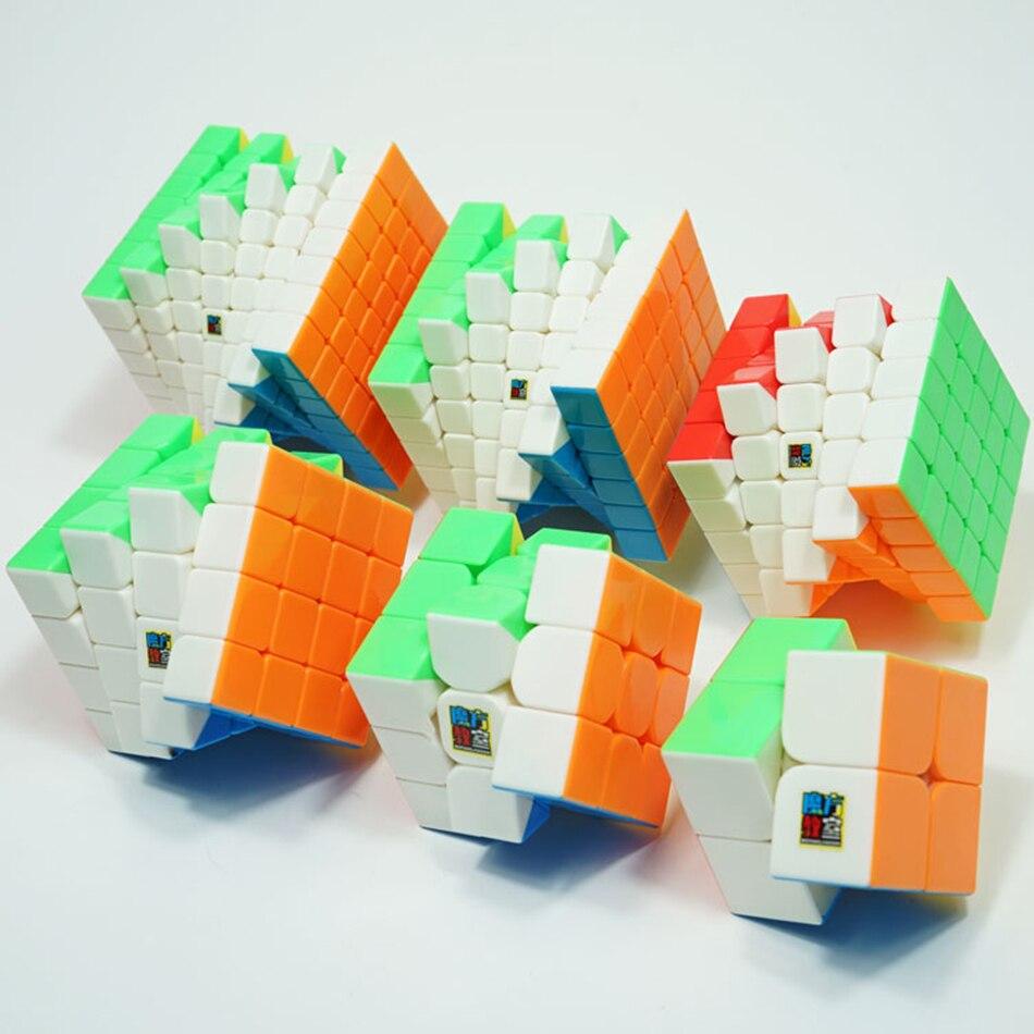 MoYu Speed Cube Bundle Moyu Mofang Jiaoshi MF2S MF3S MF4S MF5S MF6 MF7S ensemble de Cube magique sans colle 6 en 1 avec boîte-cadeau - 5