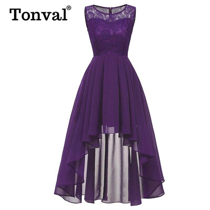 Tonval винтажное фиолетовое элегантное контрастное кружевное Макси платье Женская Высокая Низкая одежда с каймой на банкет вечерние шифоновы