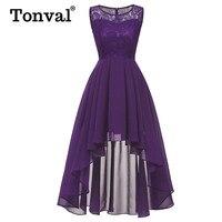 Tonval Vintage Purple Elegant Contrast Lace Maxi Dress Women High Low Hem Wear to Banquet Party Chiffon Long Dress