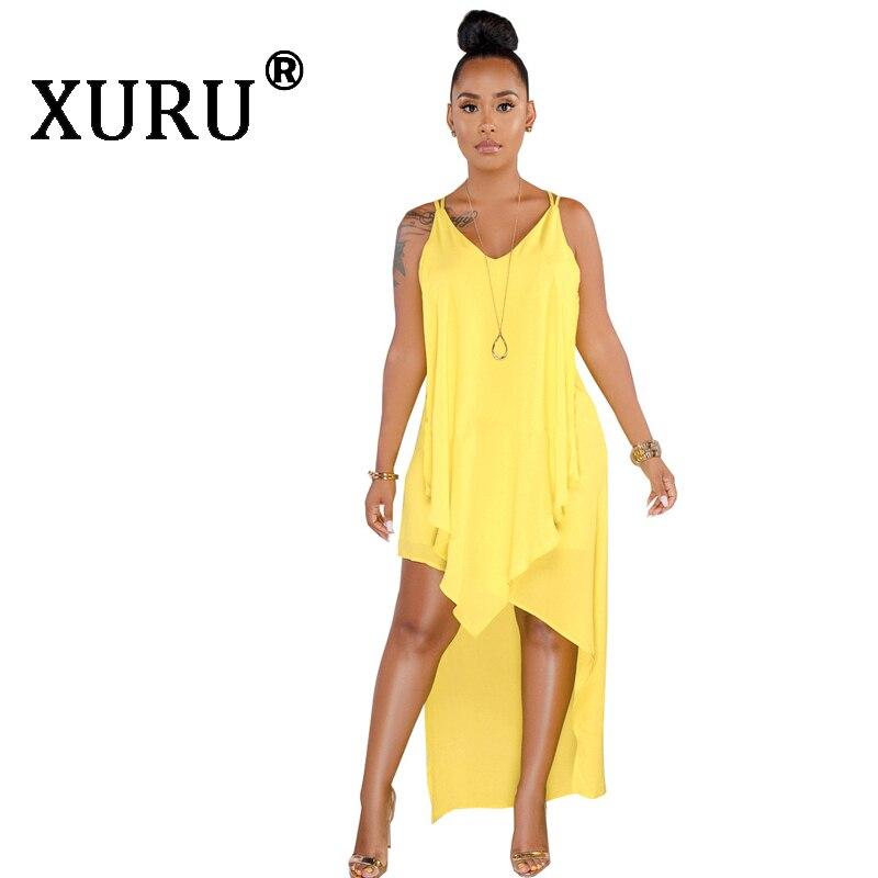 XURU Summer Hot Sexy Chiffon Dress Fashion Classic Solid Color Beach Pink Yellow Blue