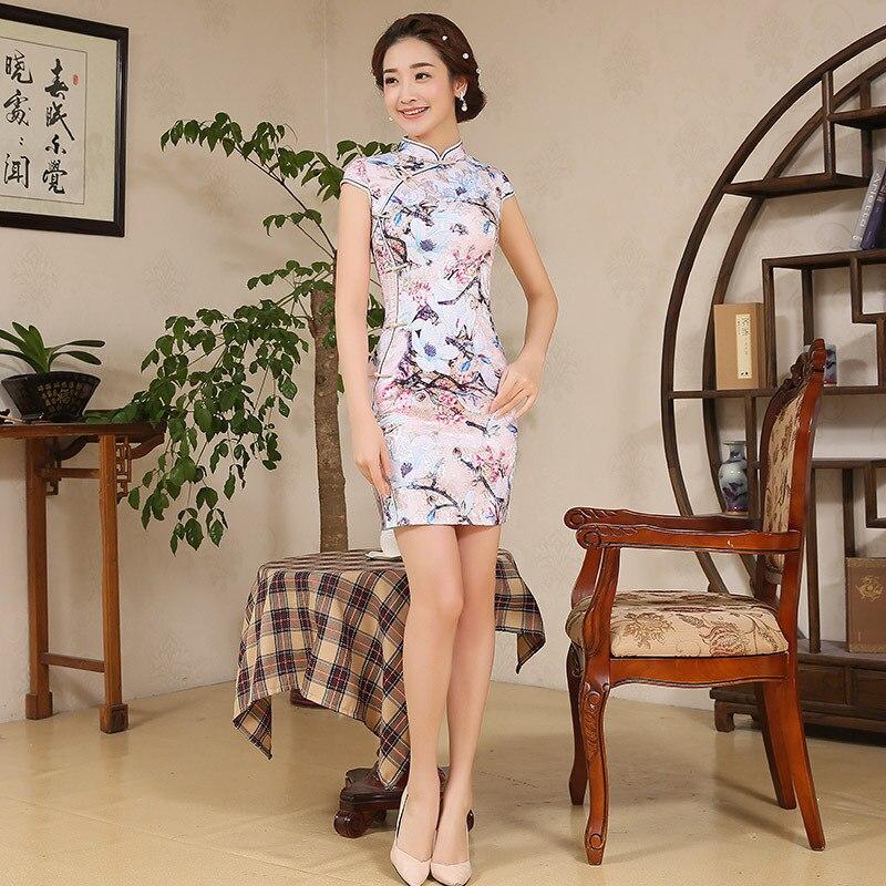 Женское элегантное китайское традиционное платье Короткое женское китайское платье Чонсам с коротким рукавом Qipao для мини платье для вечер