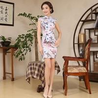 Women Elegance Chinese Traditional Dress Short Female Chinese Cheongsam Short Sleeve Qipao for Evening Party Mini Dress 89