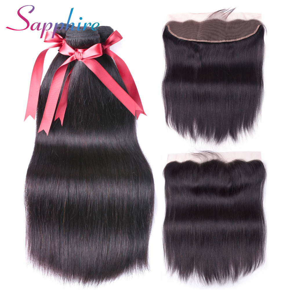 Sapphire Malaysian Straight Hair Bundles With Lace Frontal 3 pieces with Closure 13*4 Non-Remy Human Hair