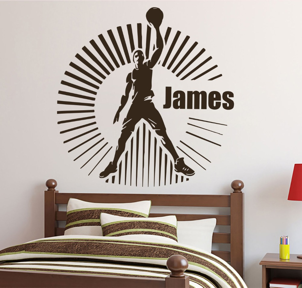 Us 24 08 14 Off Personalized Name Wall Decals Basketball Sport Decal Boy Room Nursery Decor In Stickers From Home Garden On Aliexpress
