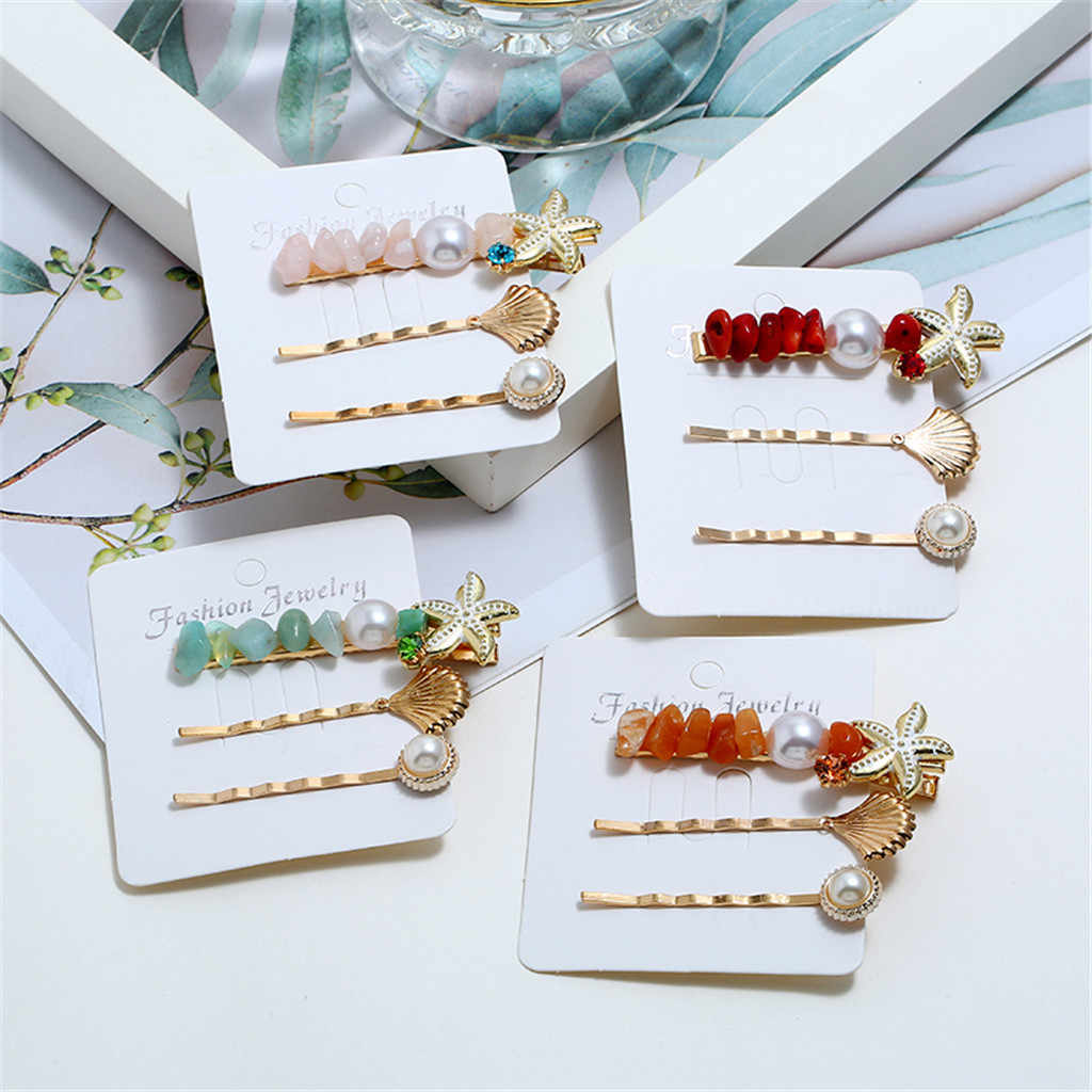 2019 Trendy Sweet Romantic Pearl  Button Sen Retro  Multicolor Hairpin  Girl  Jewelry Cute Hair Accessories