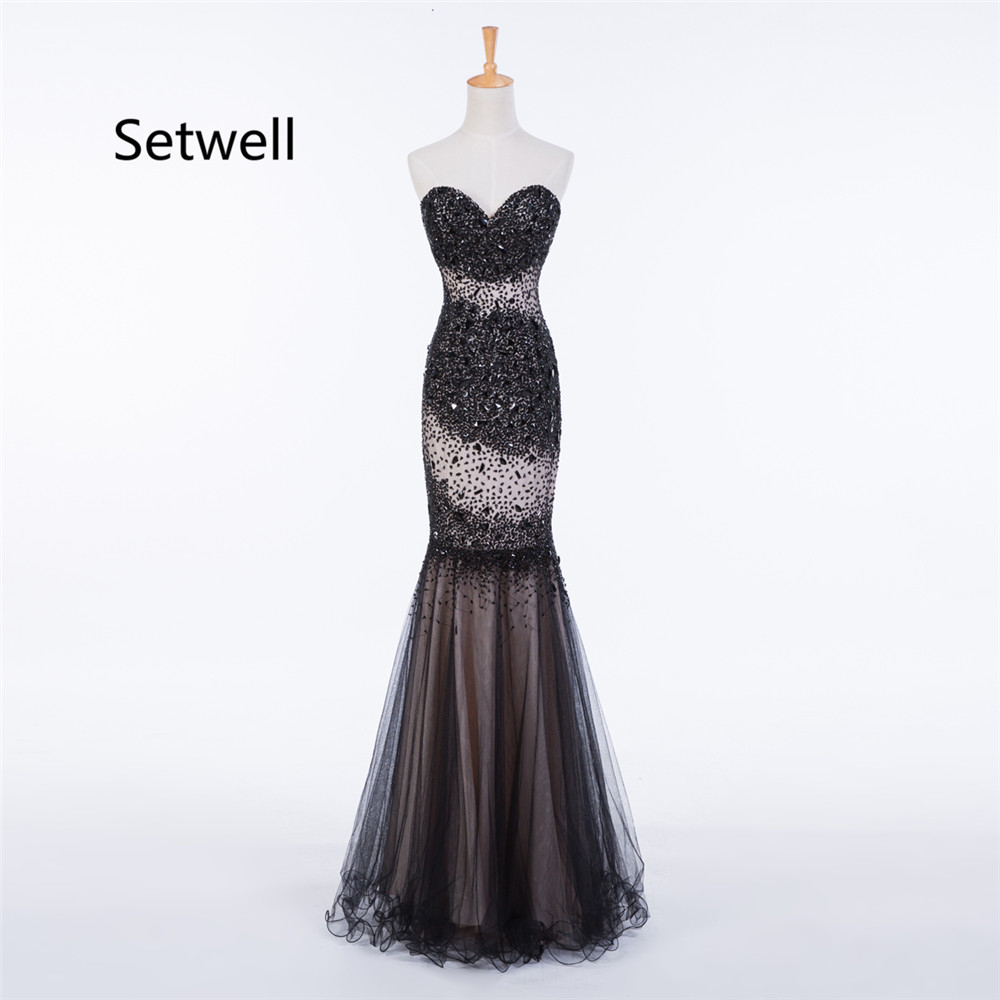 Setwell élégant sirène robes de soirée sans bretelles dos nu robe de soirée longueur de plancher longue robe de bal robe sur mesure