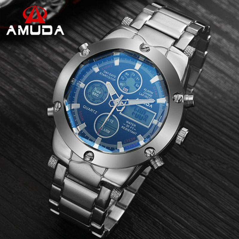 2018 AMUDA Fashion Quartz Gold Watch Men Sports Watches Metal LED Digital Dual Time Wristwatch Male Gift Clock Relogio Masculino bewell natural wood watch men quartz watches dual time zone wooden wristwatch rectangle dial relogio led digital watch box 021c