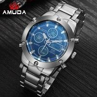 2018 AMUDA Fashion Quartz Gold Watch Men Sports Watches Metal LED Digital Dual Time Wristwatch Male