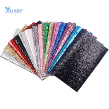 Xugar New 22*30cm Shiny Glitter Vinyl Synthetic Leather Patchwork For Hair Bow Handbags Wallet Phone Cover DIY Handmade crafts