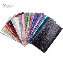Xugar New 22*30cm Shiny Glitter Vinyl Synthetic Leather Patchwork For Hair Bow Handbags Wallet Phone Cover DIY Handmade crafts(China)