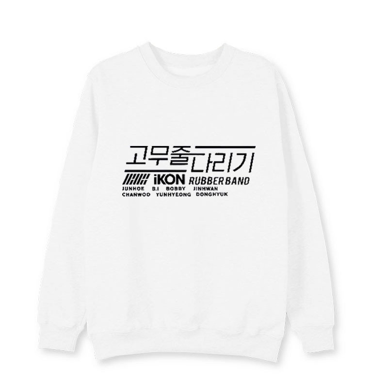 kpop iKON album RUBBER BAND same loose Print women hoodies Korea men and women Spring autumn Casual warm Harajuku sweatshirts