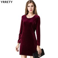 YRRETY Spring Summer Red Gold Velvet Dress Women Long Sleeves Casual Mini Bodycon Dress Solid Color