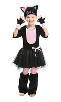 Girl Purim Animal Costume Cute Child Pink Black Cat Cosplay Stage Show Parent Child Halloween Carnival Fancy Dress