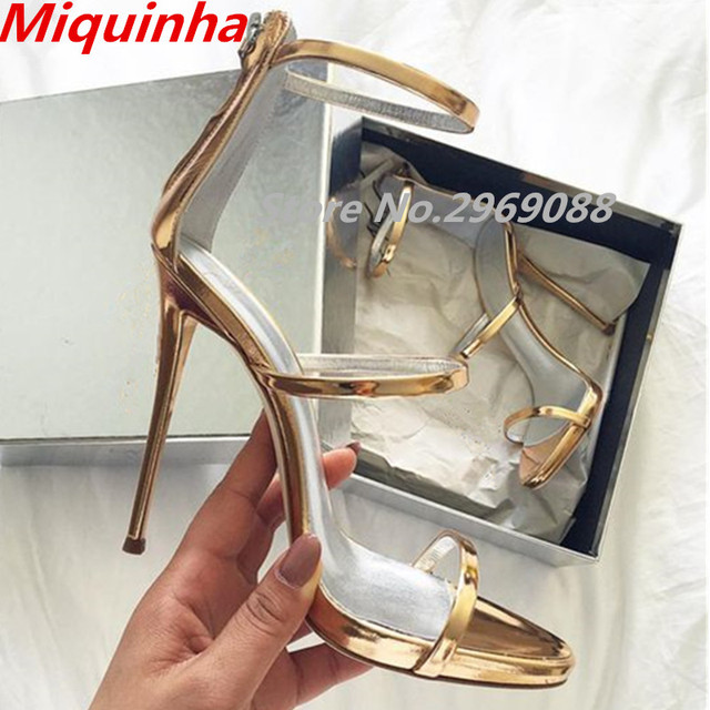 691205cf7 Miquinha Metallic Strappy Sandals Silver Gold Platform Gladiator Women High Heels  Shoes Summer Sandalias Mujer Ankle Strap Pumps