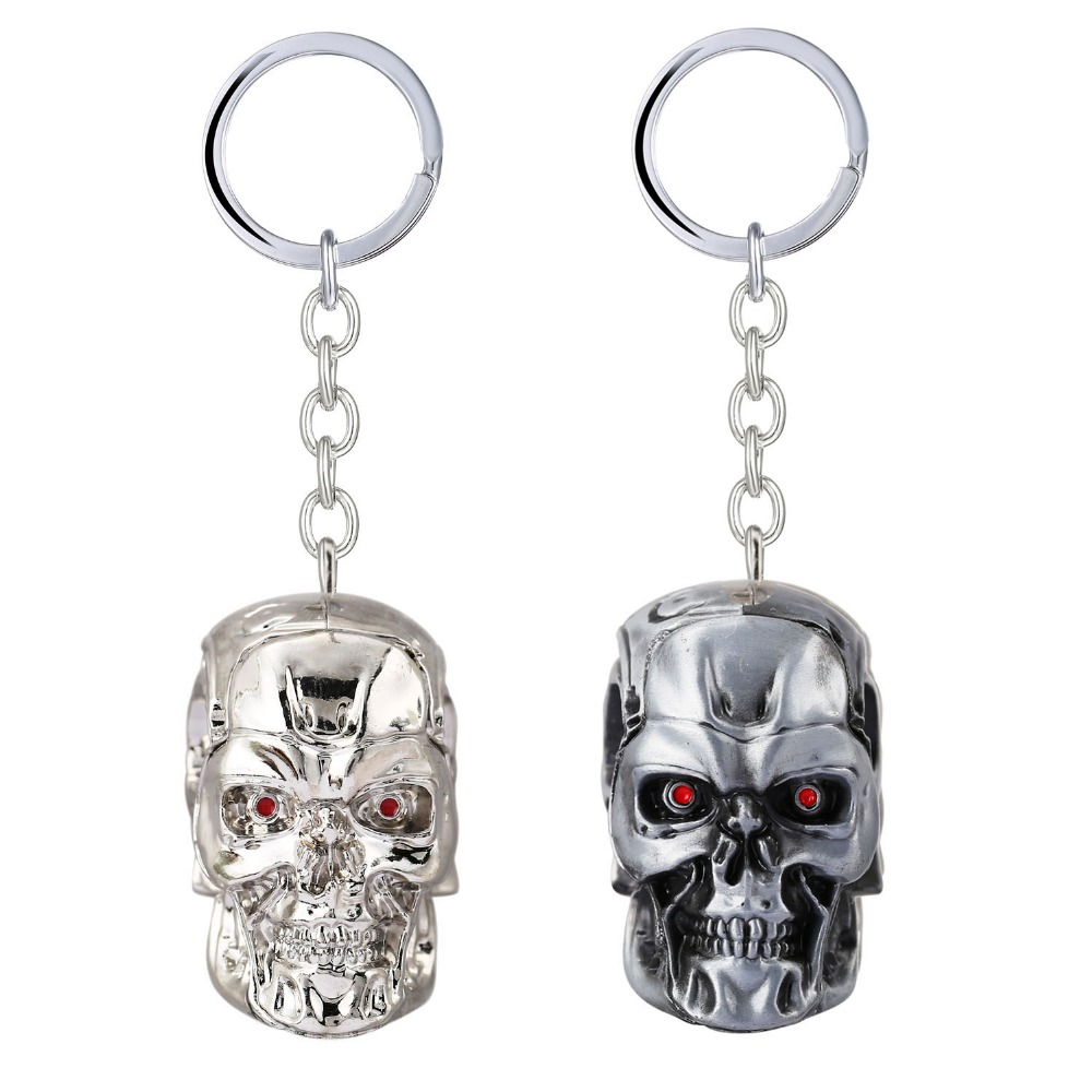 The Terminator Key Chain 3D T-1000 Skull Key Rings para regalo Chaveiro Car Keychain Jewelry Movie Key Holder Souvenir YS11520