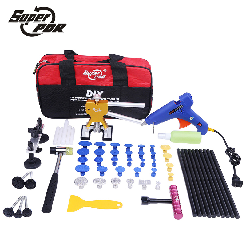 Super PDR car body dent removal tools Pulling Bridge Dent Puller Glue Gun metal tabs Paintless Dent Repair tools kit  цены