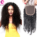 7A Peruvian Kinky Curly Closure 4*4 #1b Virgin Human Hair Lace Top Closure With Baby Hair Free Middle 3 Part Stock Free Shipping