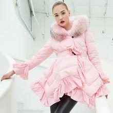 YNZZU Luxury Design Womens Down Jacket 2018 Winter Pink Ruffles Duck Coat Women Real Fur Hooded Warm Overcoat Belt O683