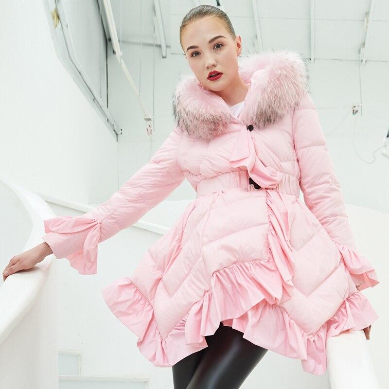 YNZZU Luxury Design Womens   Down   Jacket 2018 Winter Pink Ruffles Duck   Down     Coat   Women Real Fur Hooded Warm Overcoat Belt O683