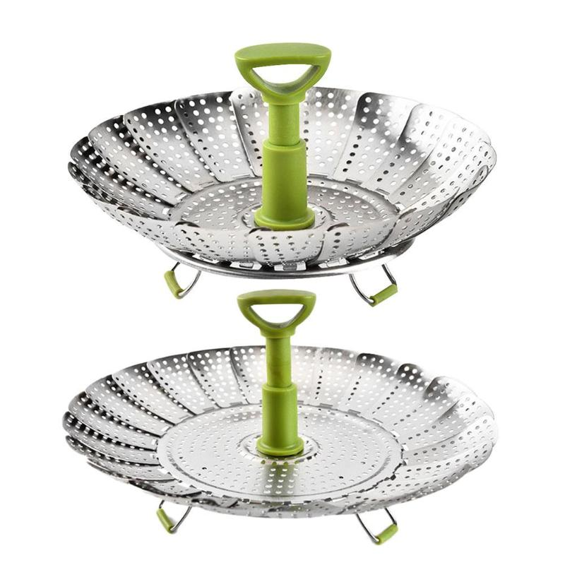 9/11inch Folding Stainless Steel Cookware Steaming Food Fruit Vegetable Steamer Basket Dish Kitchen Cooking Tools