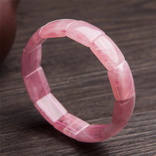 купить Genuine Madagascar Natural Rose Pink Quartz Bracelet Bangles For Women Rectangle Crystal Bead Natural Stone Bracelet Femme по цене 4613.89 рублей