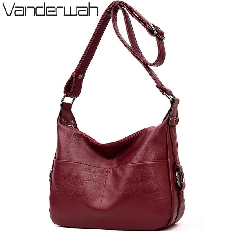 VANDERWAH зимняя женская кожаная сумка с ручкой сверху сумки женские  известные бренды Женская Повседневная Сумка- 0da0d65b30b