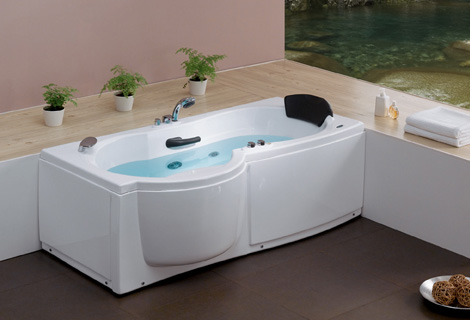 Wall corner Fiber glass Acrylic whirlpool bathtub Left Apron Hydromassage Tub Nozzles Spary jets spa RS6139