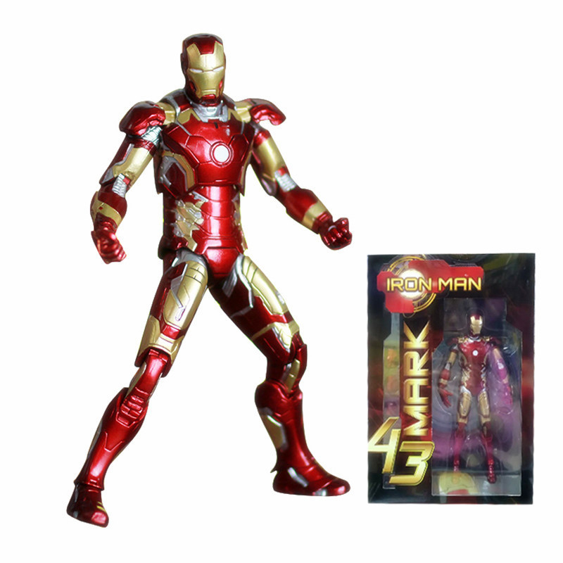 Marvel Superheros Iron Man Mark 43 PVC Action Figure Ironman Figurine Collectible Model Kids Toys Doll 7 18cm фотообои barton wallpapers города 200 x 270 см u25802