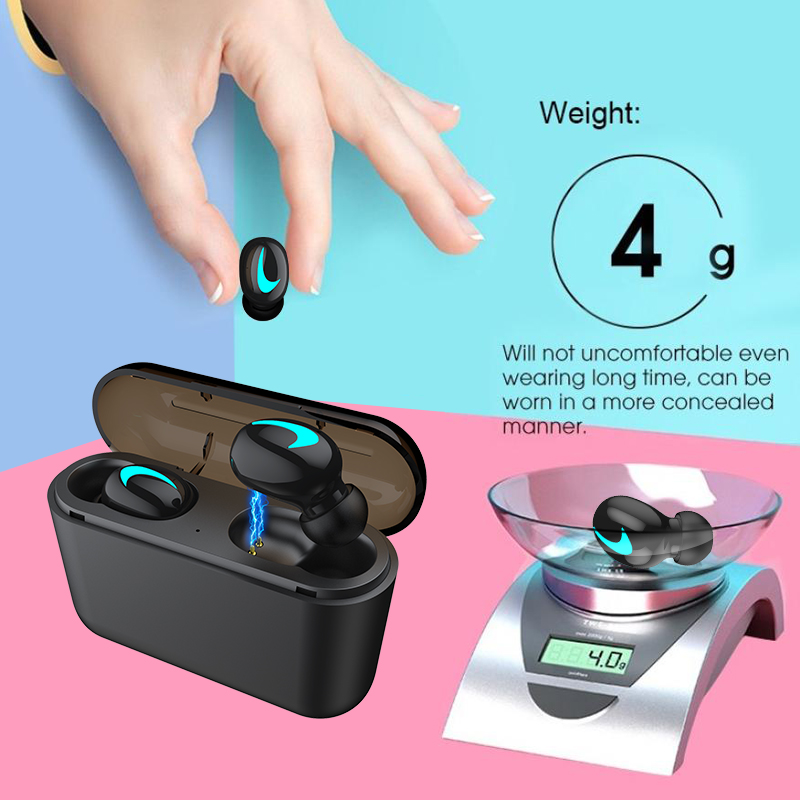M&J TWS 5.0 Bluetooth headphone 3D stereo wireless earphone with mic IPX5 Waterproof Headset and power bank charging box 11