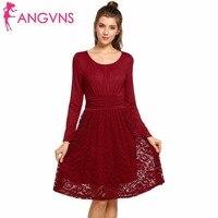 ANGVNS 2017 Dress Vestidos Women Long Sleeve Casual Spring Winter Lace Crochet Vintage Big Swing Dresses