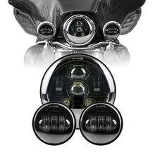 China Factory 7″ DOT Headlights Harley parts 4.5″ 4-1/2″ Led fog lights passing light for Harley Davidson Motorcycle