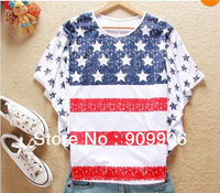 Fahion T shirts!Hot stylish fashion girl women USA flag T shirt loose bat style huge sleeves T-Shirts Tops with tracking number
