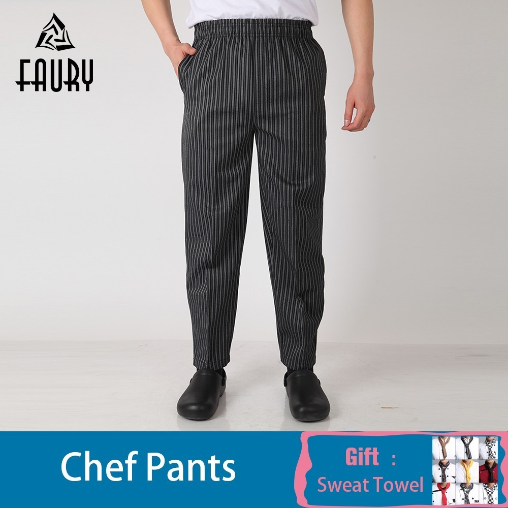 Wholesale Men Chef Waiter Pants Food Service Restaurant Kitchen Work Elastic Waistband Hotel Bakery Cafe Work Wear Long Trousers