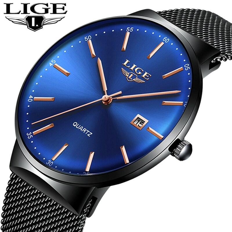 LIGE Men s Watches New luxury watch men Fashion sports quartz watch stainless steel mesh strap