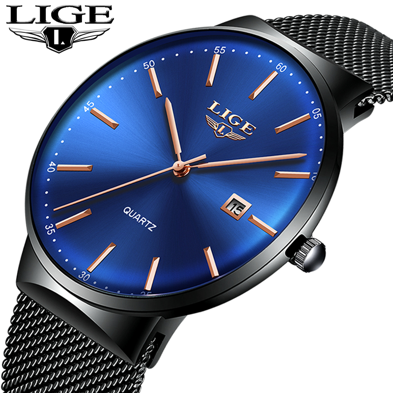 LIGE montres pour hommes nouvelle montre de luxe hommes mode sport montre à quartz bracelet en maille d'acier inoxydable cadran ultra mince date horloge bleue-in Montres à quartz from Montres    1