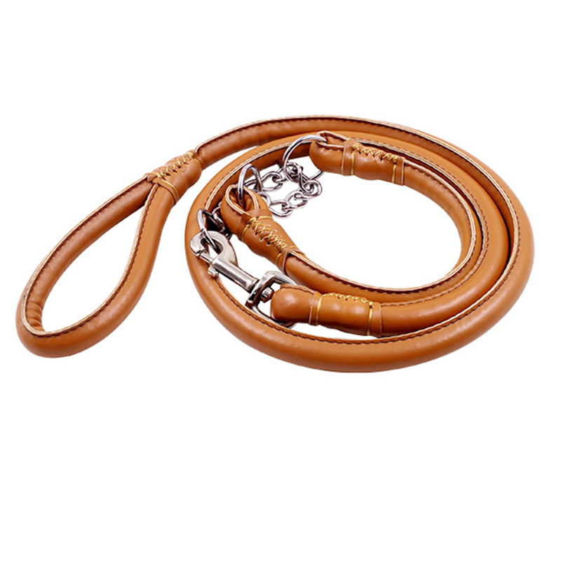 SM L size Pet dogs Dedicated Dog Leash Dogs Collars Leashes Chain For Large Round leather PU material traction rope
