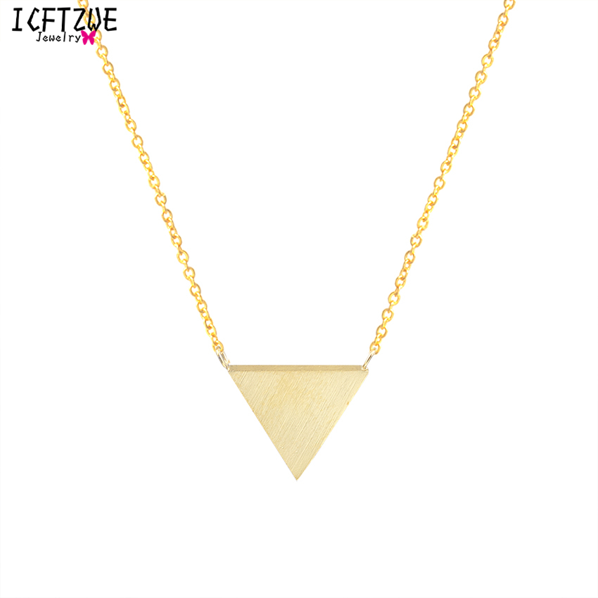 Stainless Steel <font><b>Ketting</b></font> Gold Colour Collier Minimalist Statement Triangle Chain Necklace Women Kolye Bayan <font><b>BFF</b></font> Vintage Jewelry image
