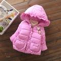 Детские девушки Пальто 2016 зима Девушки Хлопка Утолщение Супер теплый С Капюшоном Пальто Куртки Хлопка-проложенный одежды
