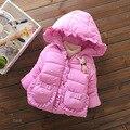 Meninas do bebê Casaco de inverno 2016 Meninas Espessamento Algodão Super quente Casaco Com Capuz Jaqueta de Algodão-acolchoado roupas