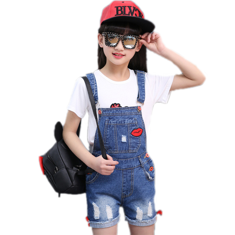 2018 Summer Children Clothing Girl Ripped Denim Overalls Lip Patchwork Kids Suspender Short Trousers Children Jeans Overalls