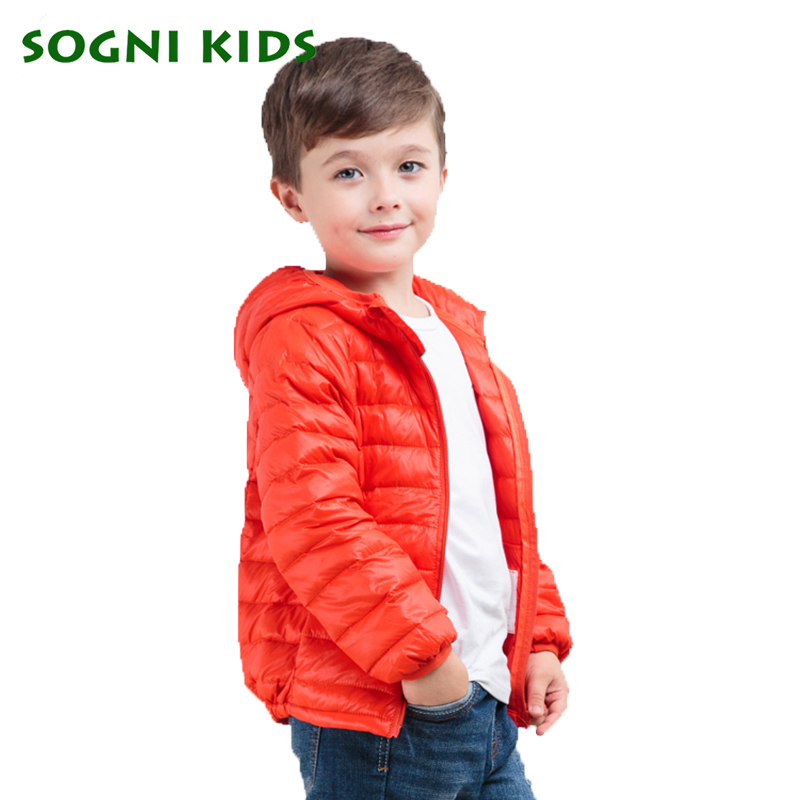 Down Coat for Boys Boys Girls Winter Jacket Brand Hooded Warm puffer Coat Toddler Kids Outerwear solid Orange Boys Clothing