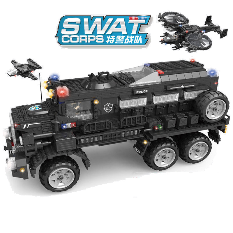 2393pcs Children s educational building blocks toy Compatible city Special police team series Aegis riot armored