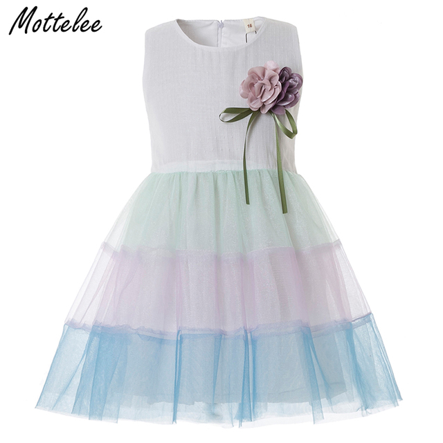 d514f618c077f US $8.99 |Mottelee Toddler Girls Dress Rainbow Birthday Party Baby Dress  Formal Fashion Princess Ball Gown Design Flower Infant Girl Frock-in  Dresses ...