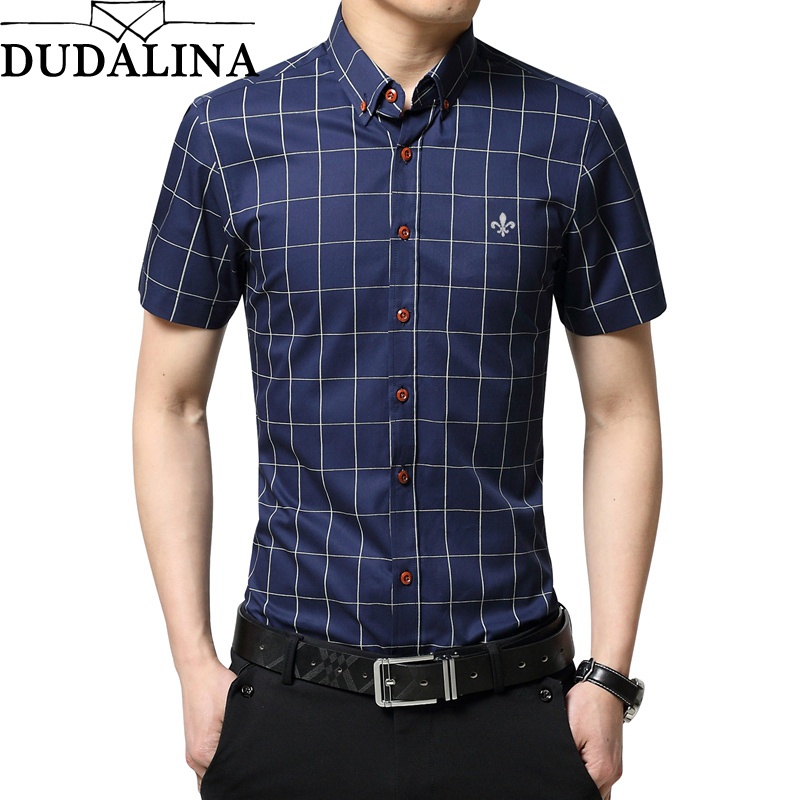 Dudalina 2019 New Brand Men Casual Shirts Short Sleeve Plaid Cotton Slim Fit Dress Shirt Plus Size Clothing For Business Clothes