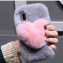 Handmade Love Full Furry Hair Phone Case for Iphone 11 Pro MAX 11 XS XR XS MAX 8plus 7plus 6S 5 SE Soft Warm Real Rabbit Fur(China)