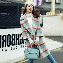 цены Autumn Winter Coats Women Plaid Woolen Coat Female Long Overcoat Female Turn-Down Collar Blends Woolen Woolen Warm Plaid Coat